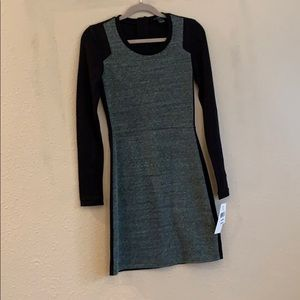 French Connection Body Con Black & Grey LS Dress